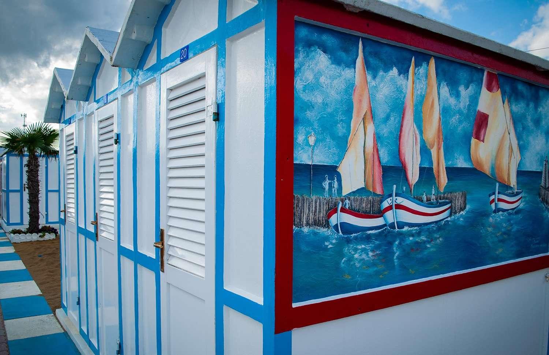 Dipinto a mano del porto di Riccione